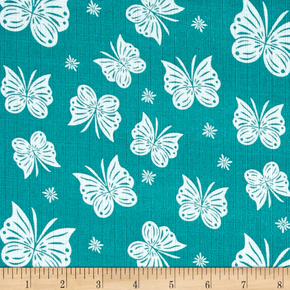 Riley Blake Double Gauze Flutter Teal Fabric by Christensen in USA
