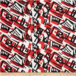 Soft Jersey Knit Abstract Swirls Red/Black/Ivory