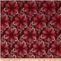 Pear Tree Greetings Metallic Snowflake Scarlet/Silver