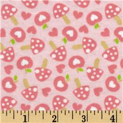 Outdoor Heaven Flannel Dreamy Mushrooms Pink