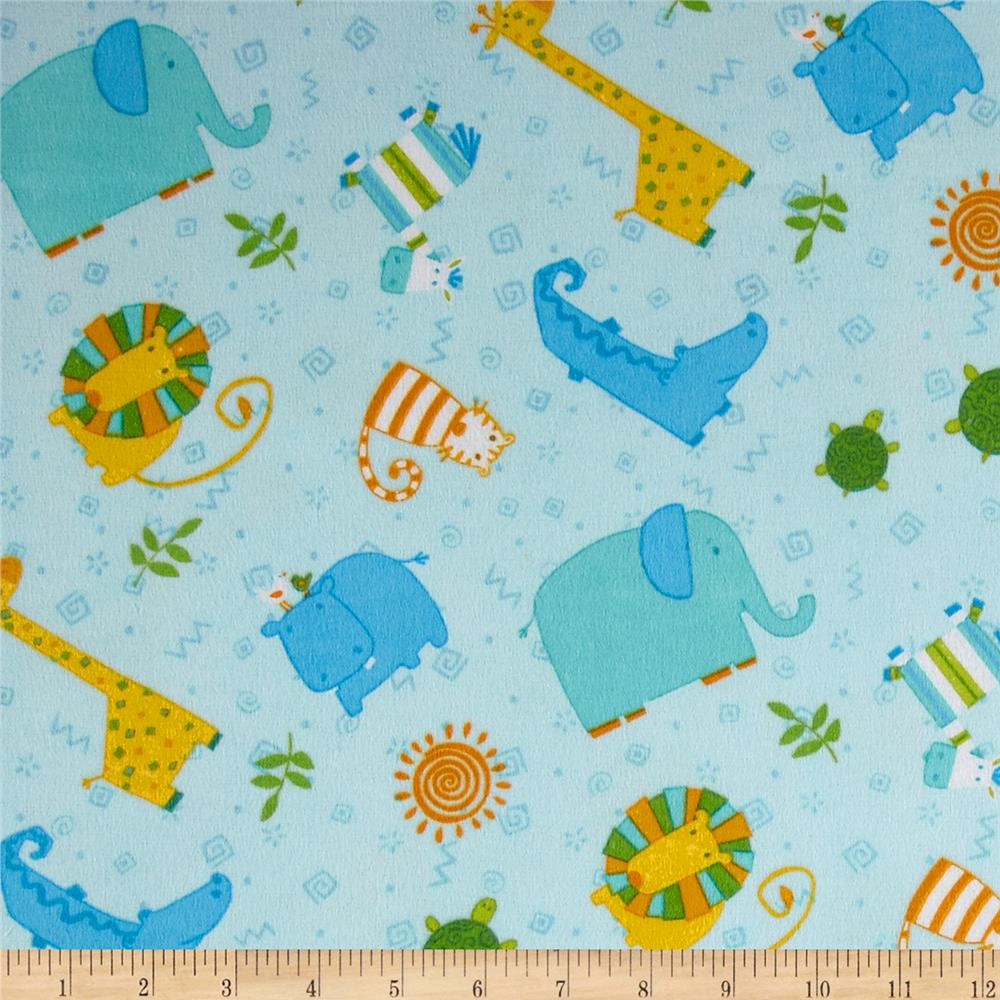 Jungle Buddies Flannel Animal Toss Blue