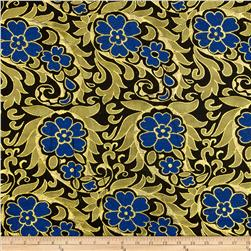 Metallic Brocade Floral Blue