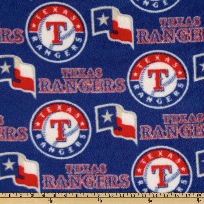 MLB Fleece Texas Rangers Toss Red/White/Royal Fabric By The Yard