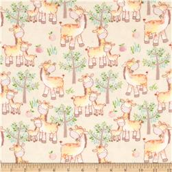 Jungle Giraffe Mom and Me Giraffes Flannel Cream