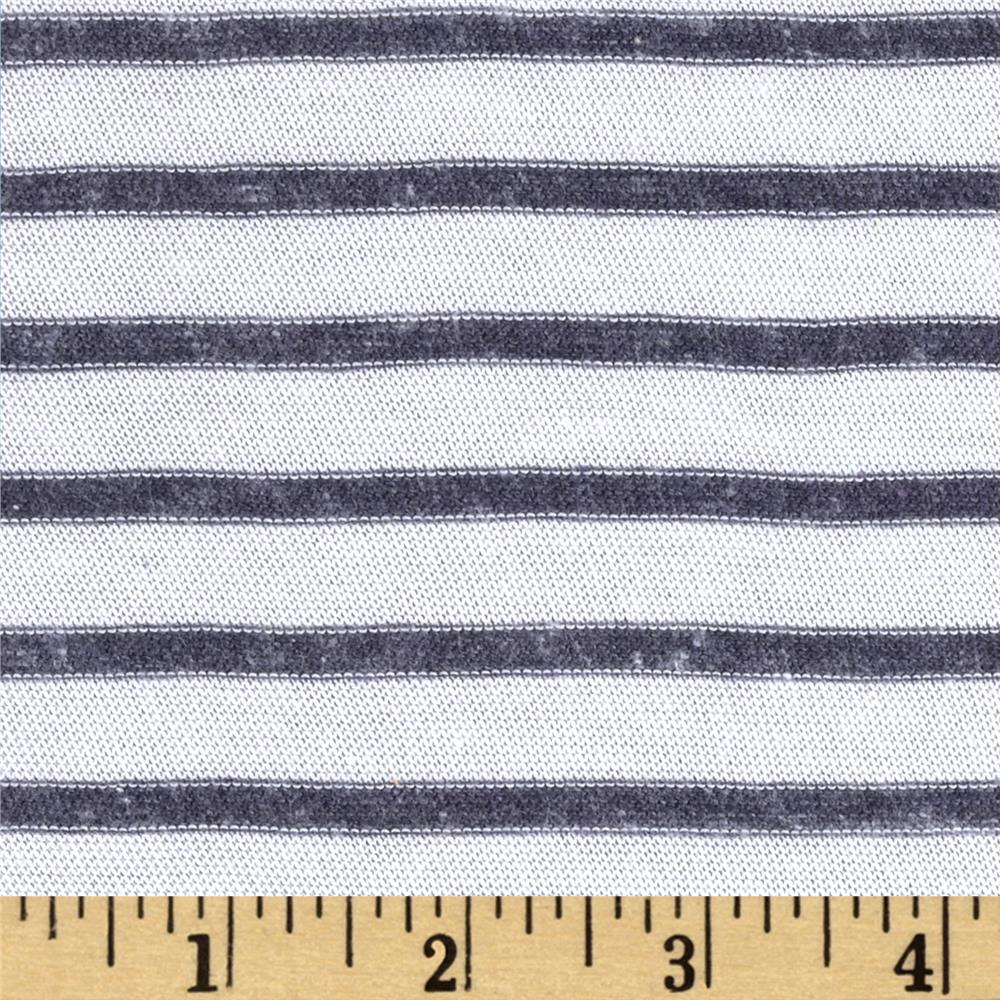 Designer Stretch Yarn Dyed Jersey Knit Stripes White/Indigo
