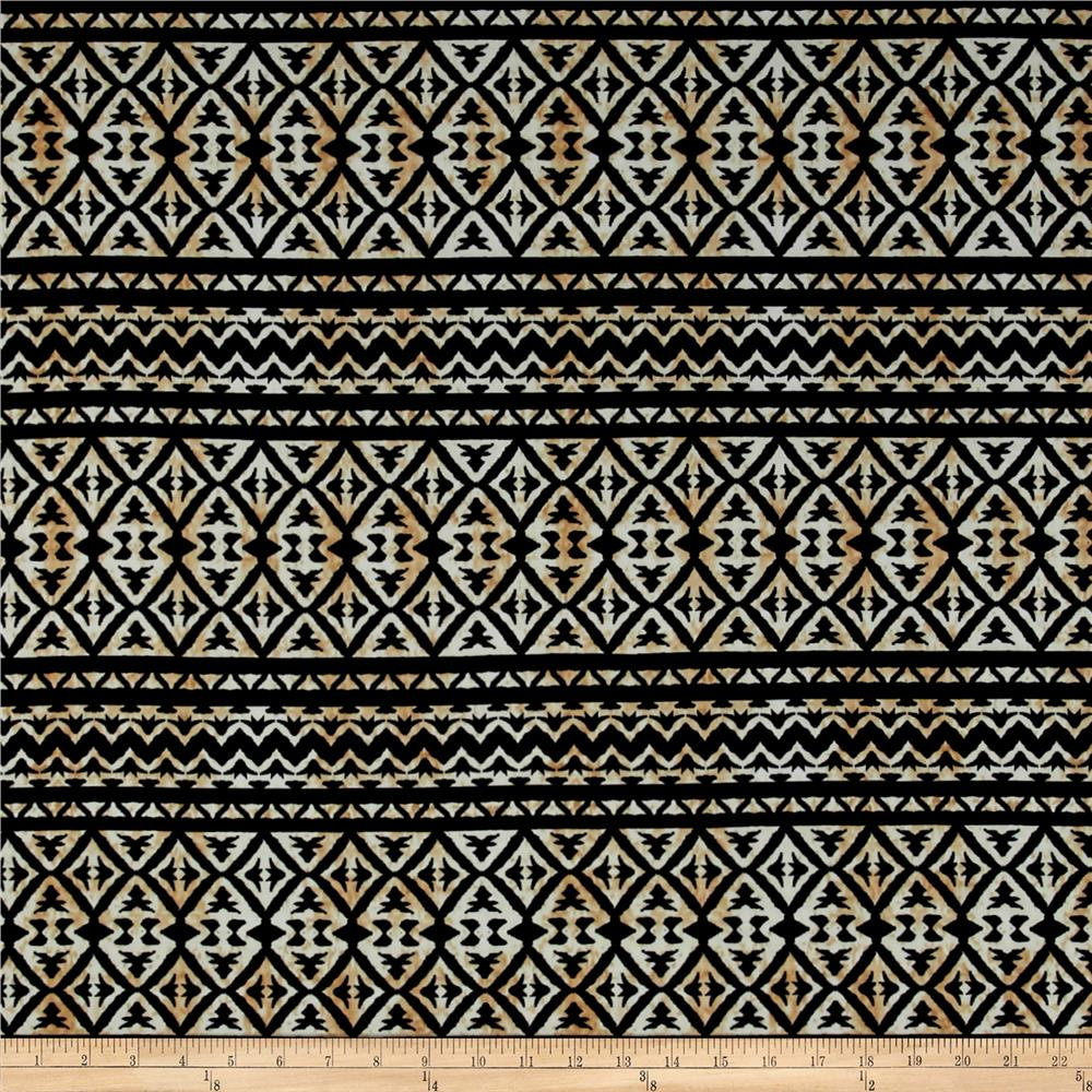 ITY Brushed Jersey Knit Aztec Black/Taupe  Fabric
