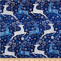 Reindeer Prance Metallic Reindeer Allover Blue