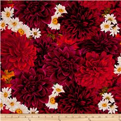 Timeless Treasures Dahlia Packed Dahlias & Daisies Dahlia