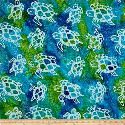 Indian Batik Turtles Aqua/Lime