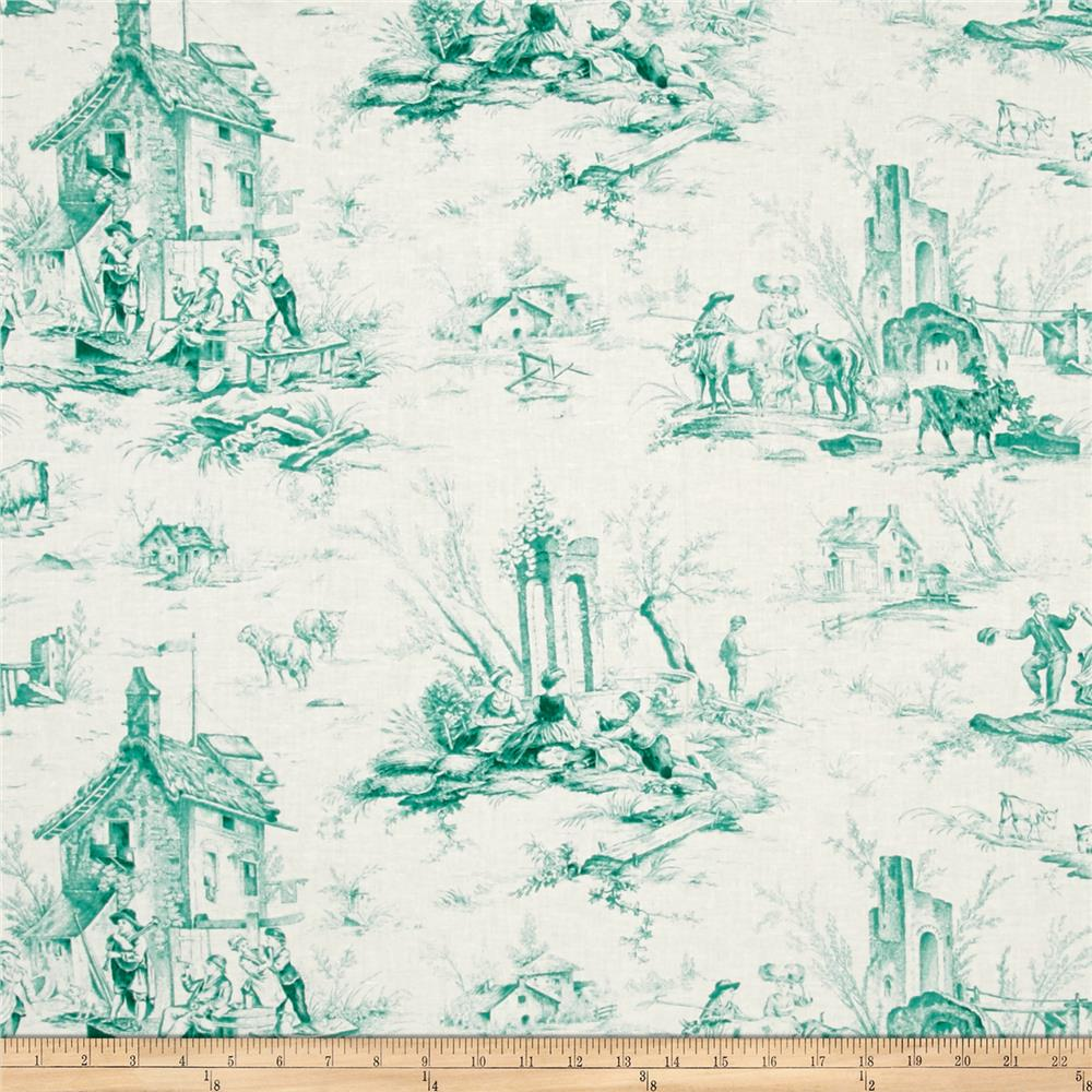 Village Garden Toile Teal