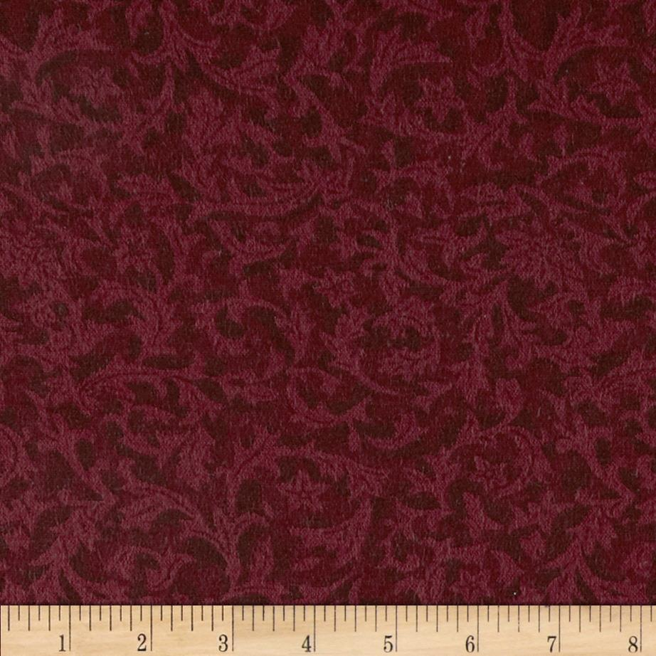"110"" Wide Flannel Quilt Backing Leaf Wine"