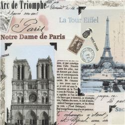 Timeless Treasures Tres Jolie Paris Landmark Collage Blush