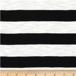 Designer Yarn Dyed Slub Jersey Knit Stripes Black/White