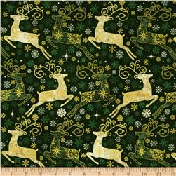 Reindeer Prance Metallic Reindeers Allover Green