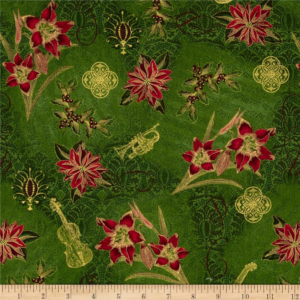Tis The Season Floral & Music Red/Green