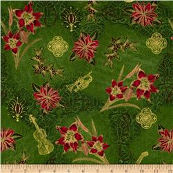 Tis The Season Floral & Music Red/Green Fabric