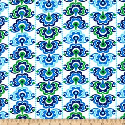 Sundborn Garden Medallion Stripe Blue/Green Fabric