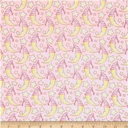 Lullaby Sheep Sleepy Moon Flannel Light Pink/Yellow