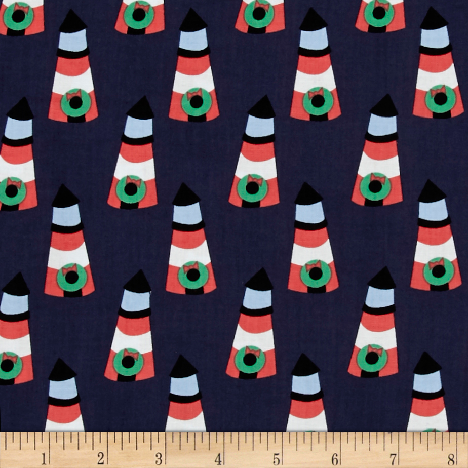 Dear Stella Whale of a Holiday Lighthouse Navy Fabric by Dear Stella in USA