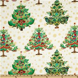 Hoffman Celebration Abstract Trees Metallic Evergreen