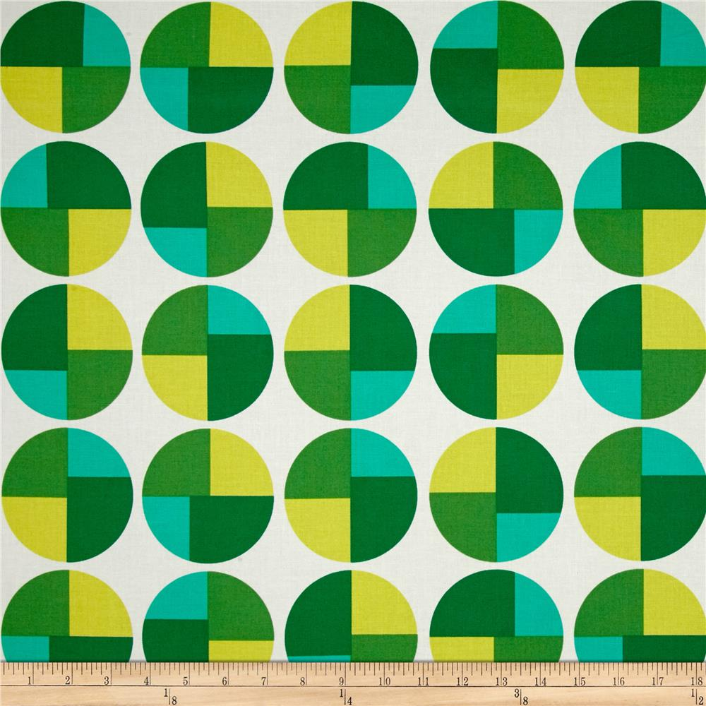 Kaufman Geo Pop Canvas Home Decor Geo Circles Emerald