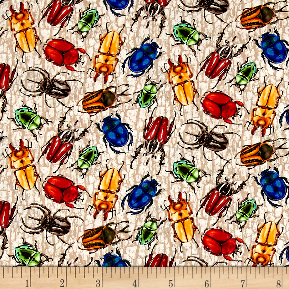 You Bug Me Multi Color Beetles Fabric by Fabri-Quilt in USA