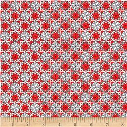 Home For The Holiday Snowflake Tiles Red/Gray