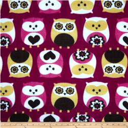 Fleece Owls Fuchsia