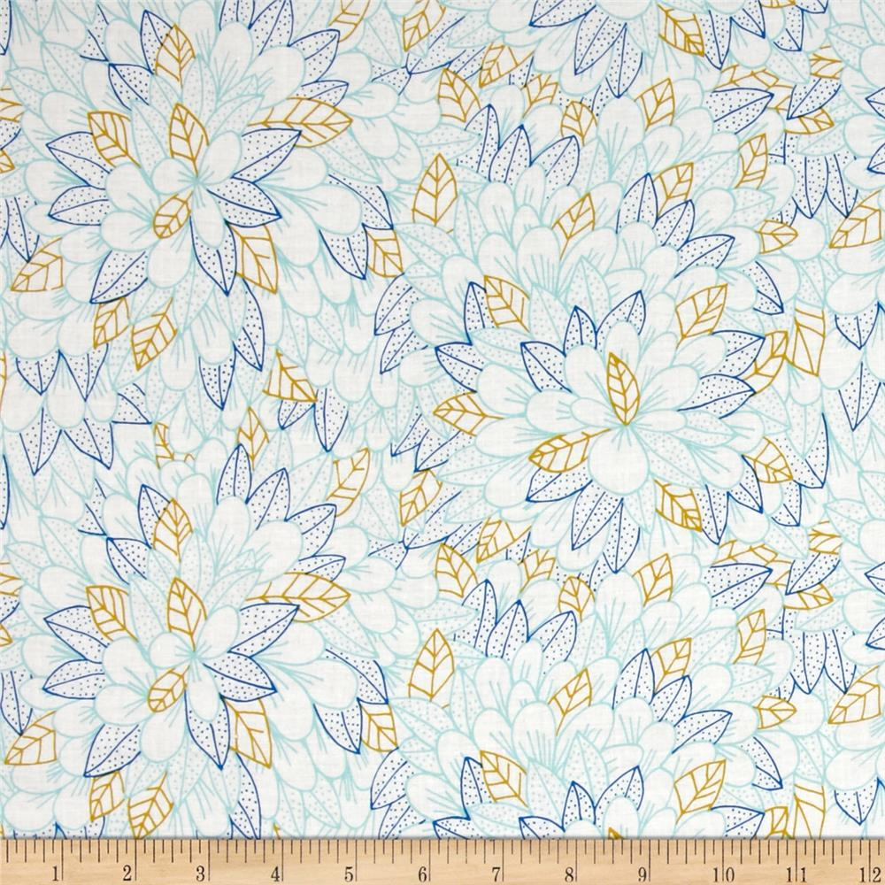 Cloud 9 Organic Kindred Blomma Voile Turquoise