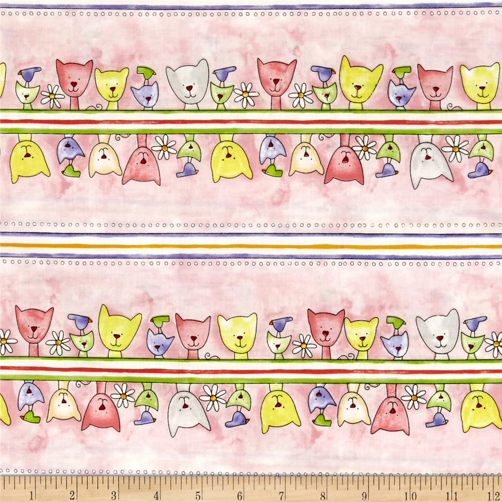 Happy Catz Repeating Stripe Pink