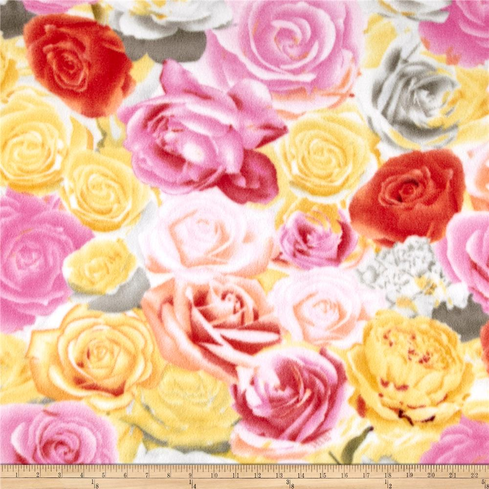 Winter Fleece Roses Fabric