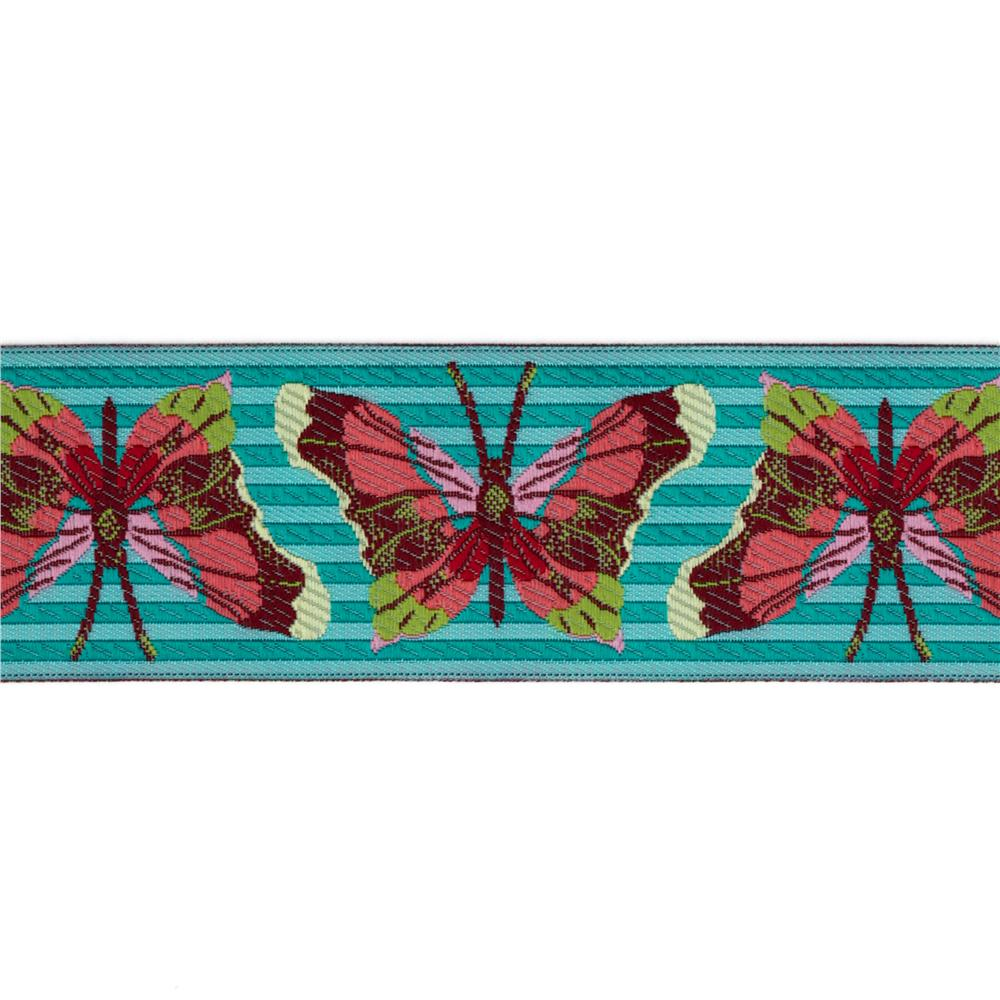 1 1/2'' Anna Maria Horner Jacquard Ribbon Stripe Butterfly Turquoise