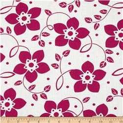 Contempo Brigitte Small Bloom Deep Pink/White Fabric
