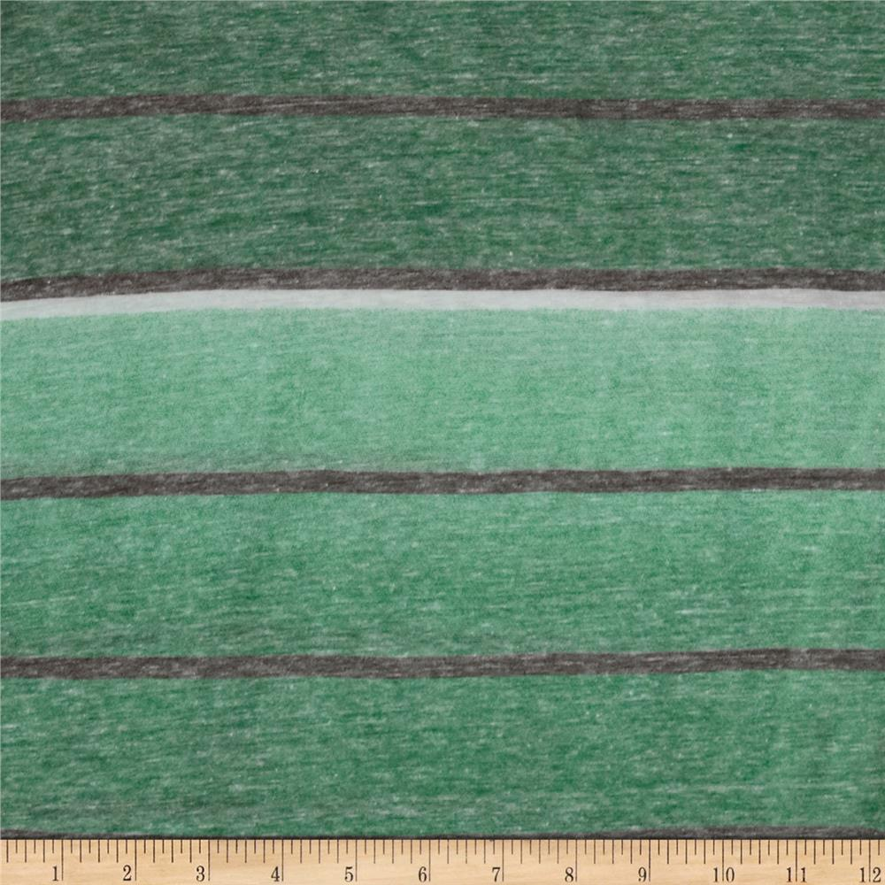 Designer Stripe Jersey Knit Green/Grey