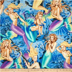 Sea Sirens Pin-up Mermaids Blue