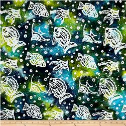 Indian Batik Ocean Grove  Fish Olive Blue
