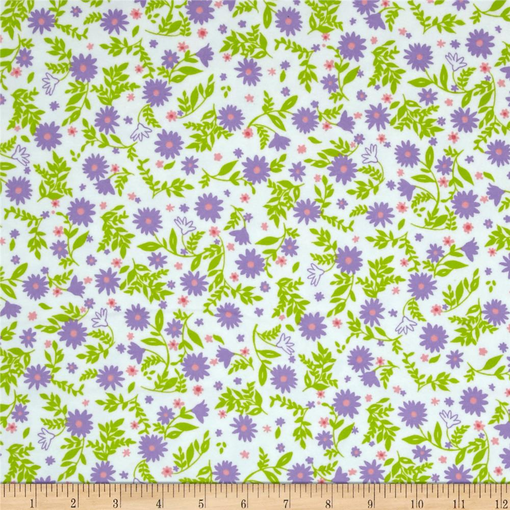 Kaufman Cozy Cotton Flannel Flowers & Leaves Lilac