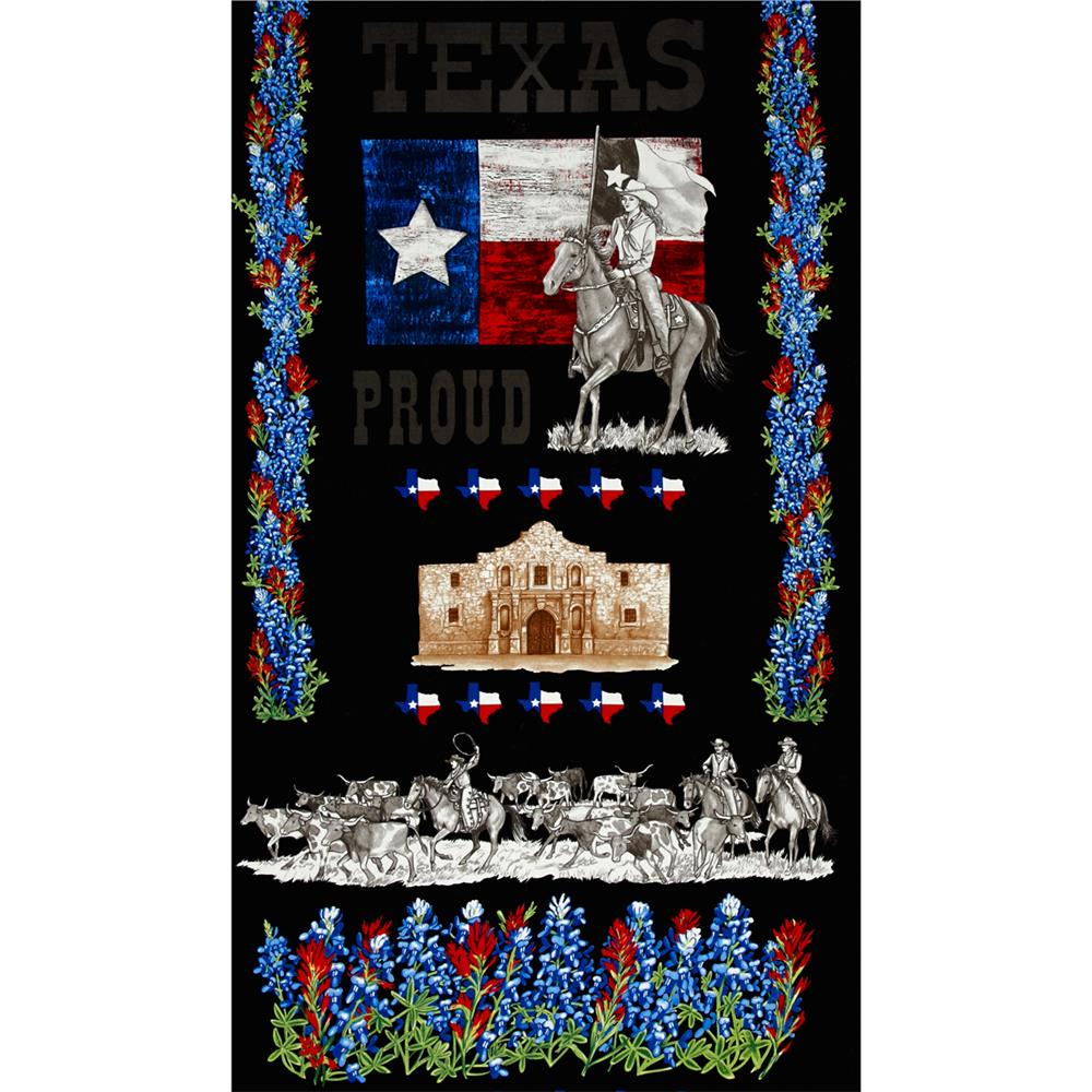 Moda Texas Proud 24 In. Panel Black Fabric By The Yard