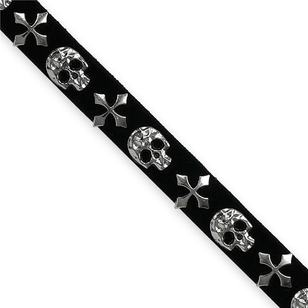 "1/2"" Faux Suede Skulll Hot Fix Banding Silver"
