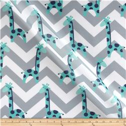 RCA Giraffe Chevron Sheers Jade/Grey Fabric