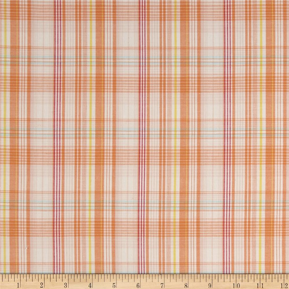 Stretch Yarn Dyed Shirting Plaid Orange/Red/Beige