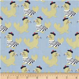 Dear Stella Sea Worthy French Seals Blue Fabric