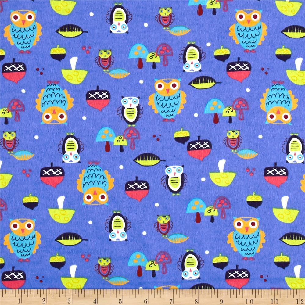 Flannel Owls Blue Fabric