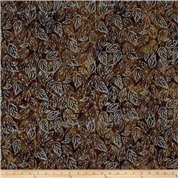 Timeless Treasures Batik Tonga Sophisticate Falling Leaves Mud
