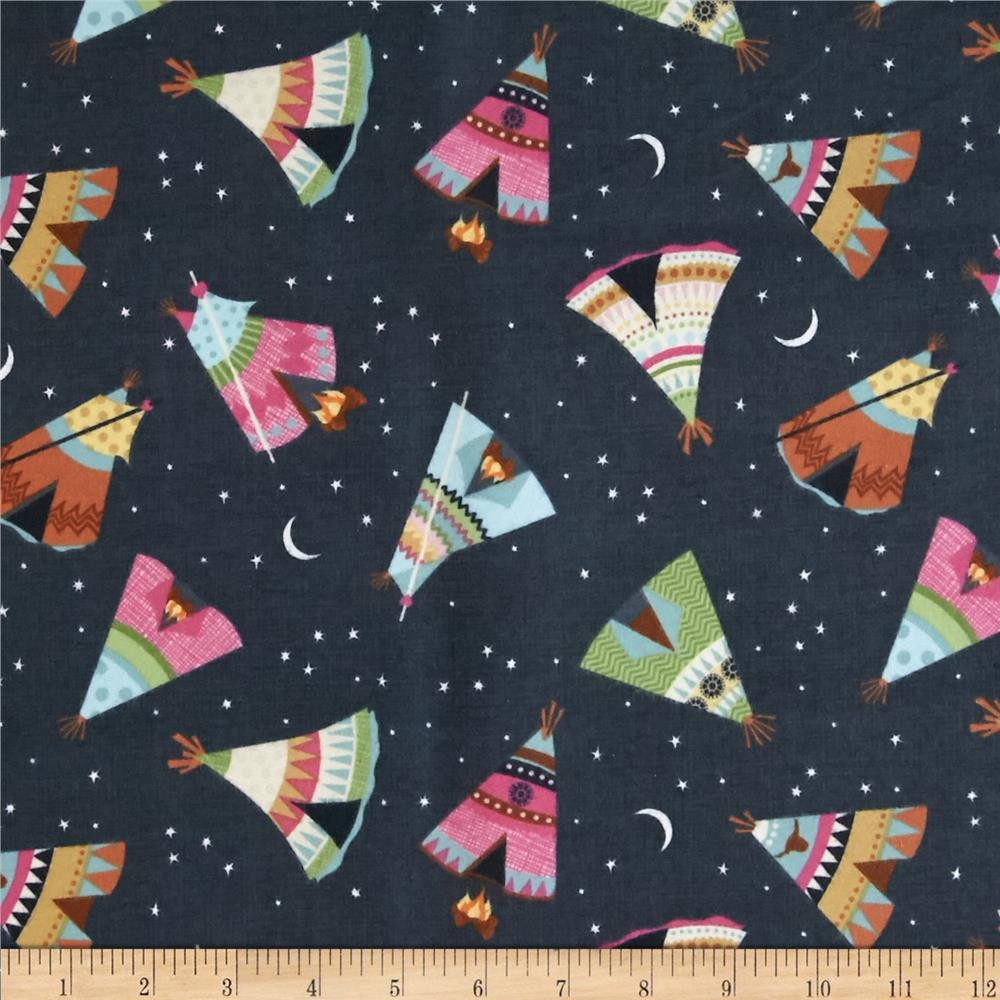 Timeless Treasures Under The Stars Flannel Teepee Toss