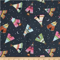 Under The Stars Flannel Teepee Toss Charcoal