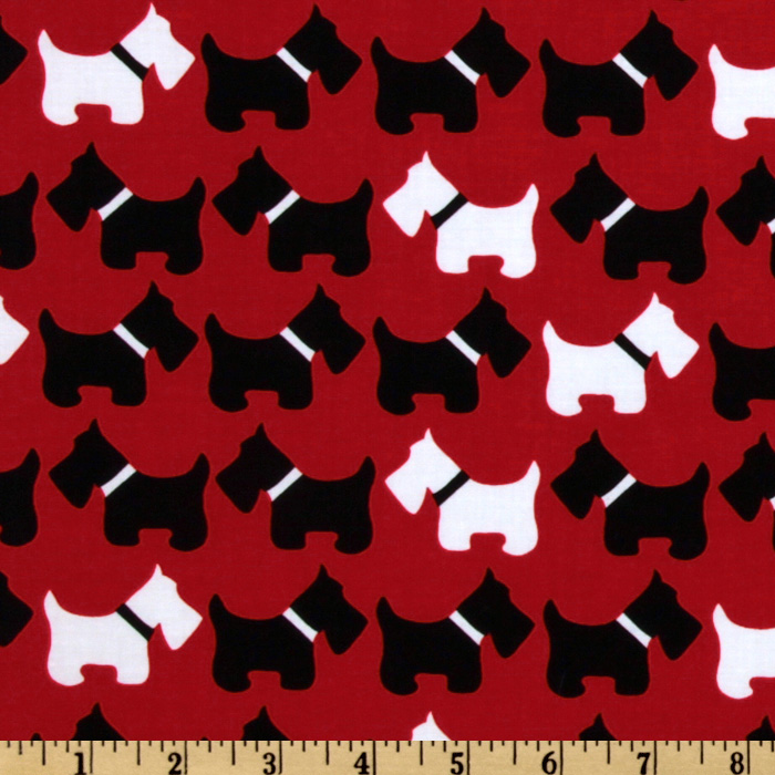 Urban Zoologie Scottie Dogs Red Fabric