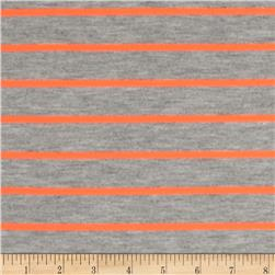 Yarn Dyed Striped Jersey Knit Bright Orange/Grey