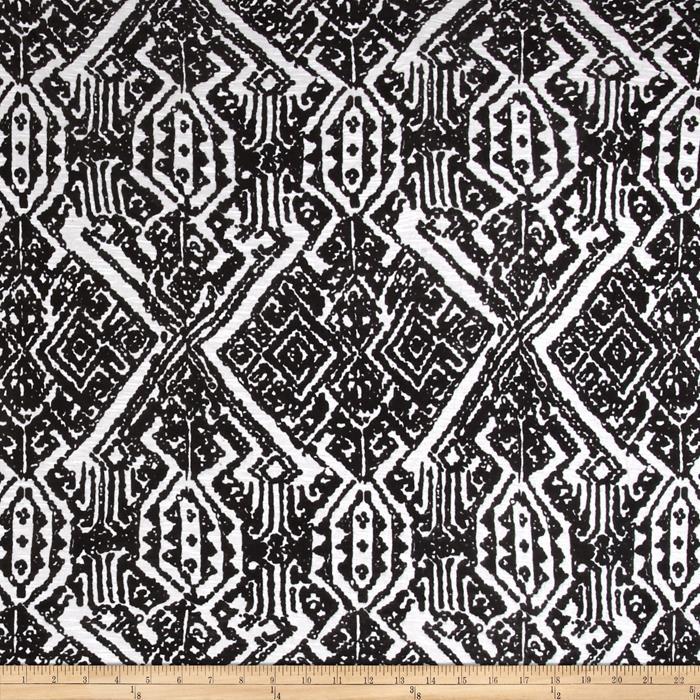 Designer Jersey Knit Aztec Black/White Fabric