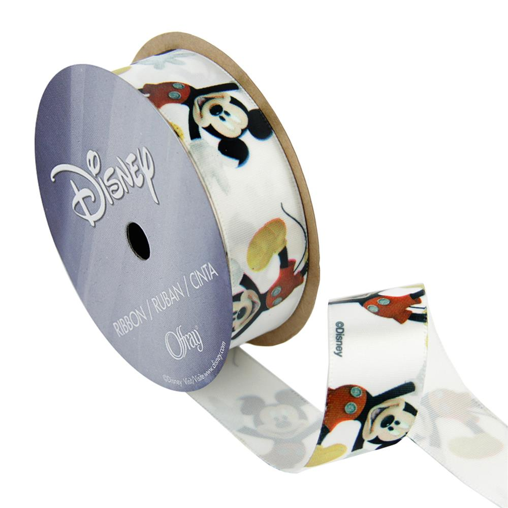 7/8'' Mickey Mouse Ribbon Close Cartoon White